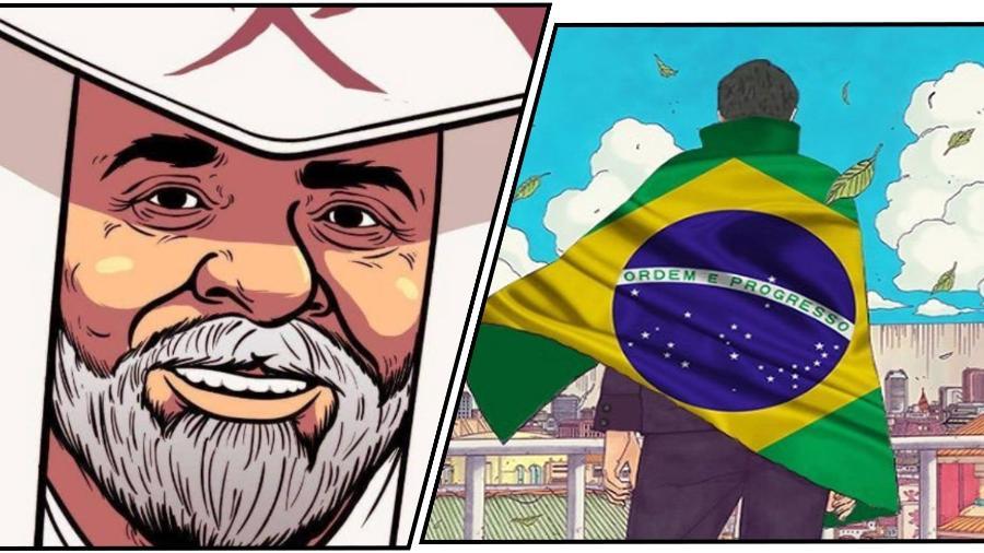 Ilustrações publicadas no Twitter com traço de anime com as figuras de Lula e Jair Bolsonaro - Reprodução/autoria desconhecida