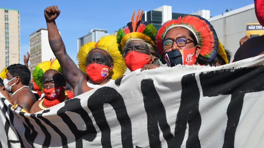 Protesto de indígenas contra o PL 490, em Brasília, em 22 de junho - Tainá Andrade/UOL