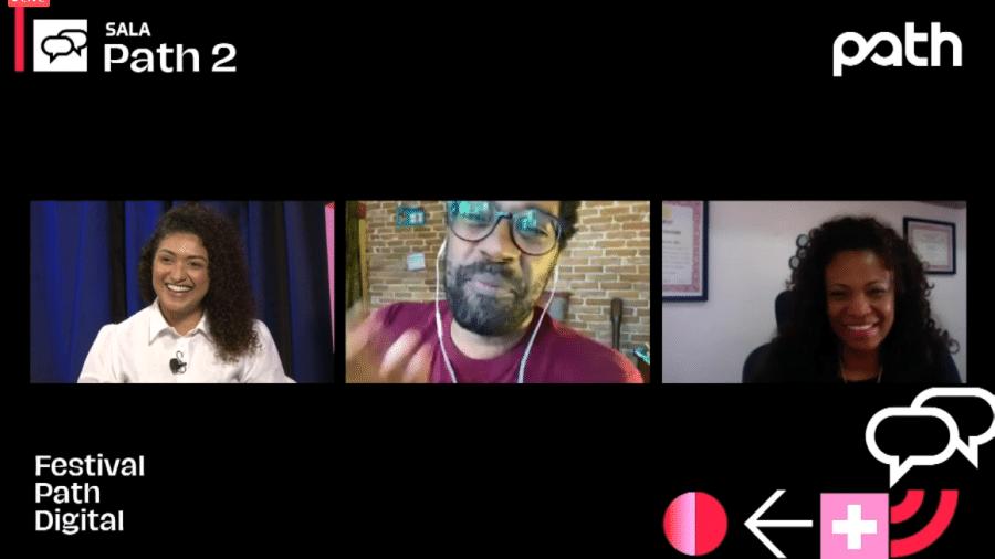 Viviane Duarte, Jairo Pereira e Eliane Dias no debate ?O pós telas pretas? - Festival Path/Reprodução