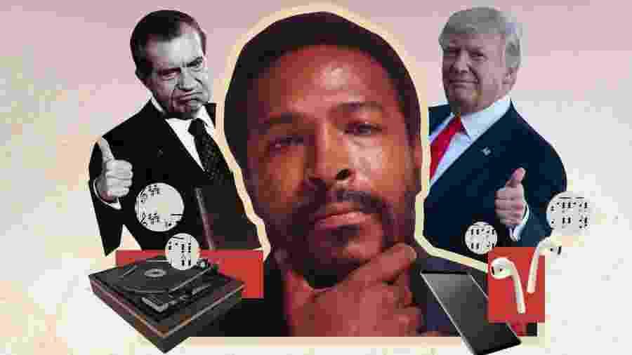 O cantor e compositor norte-americano Marvin Gaye aponta para os EUA de Nixon e acerta nos EUA de Trump - TAB