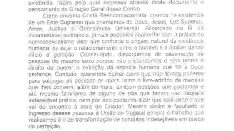 Posição religiosa do Centro Espírita Beneficente União do Vegetal - Reprodução - Reprodução