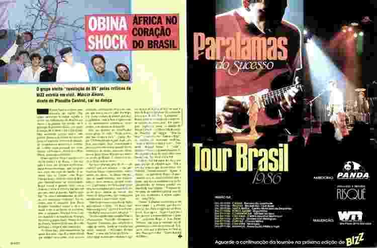 Reportagem da revista Bizz, de 1986, destaca a eleição de Obina Shok como banda revelação de 1985 - Revista Bizz/Reprodução