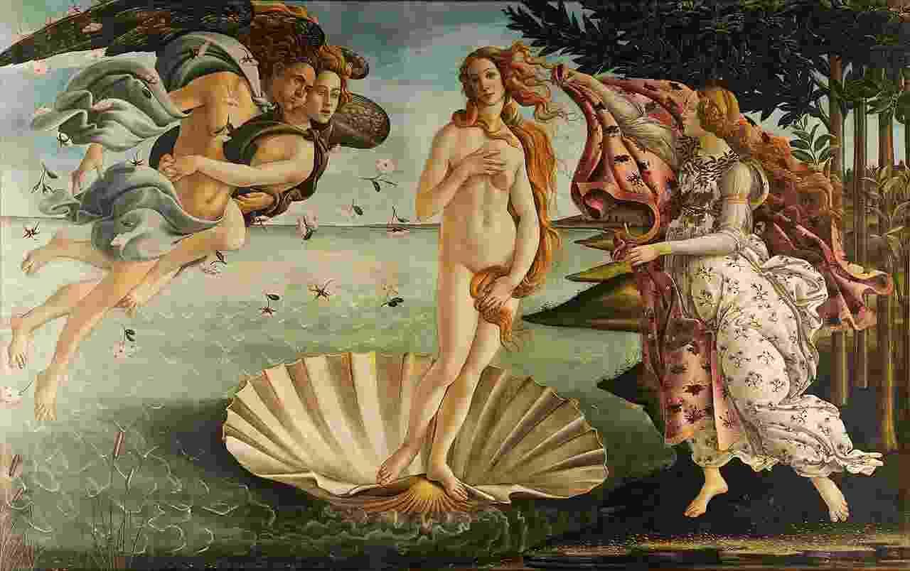 O nascimento de Vênus, de Sandro Botticelli (1483) - Reprodução
