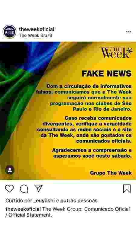 Grupo The Week Brazil, do empresário André Almada, em comunicado no perfil do Instagram - 12/03/2019 - Reprodução/Instagram - Reprodução/Instagram