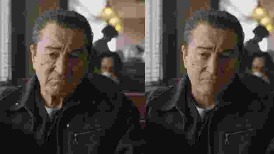 """Robert De Niro em cena de """"O Irlandês"""", antes e depois do uso da tecnologia de-aging - Reprodução"""