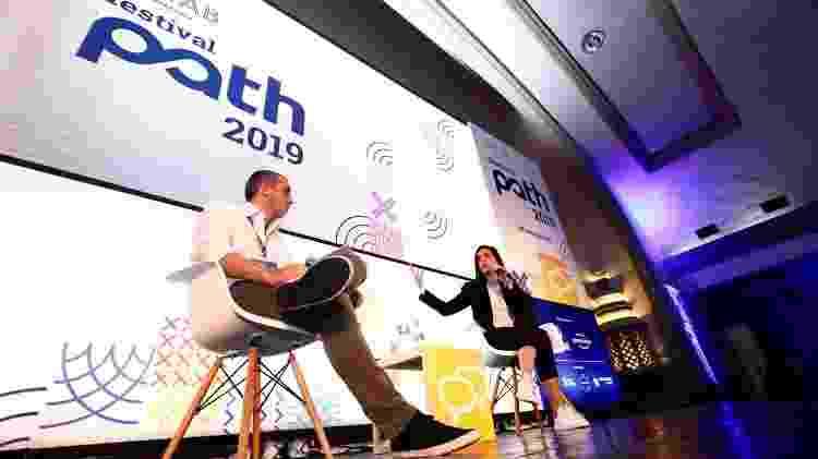 Rafael Coca, sócio-fundador da Spark, e Camila Coutinho no Festival Path - Mariana Pekin/UOL