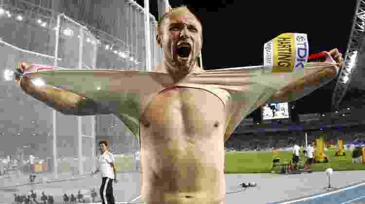 O atleta alemão Robert Harting, um dos maiores ganhadores de medalhas no lançamento de disco, na final do Campeonato Mundial em Daegu (Coreia do Sul), em 2011 - Kai Pfaffenbach/Reuters - Kai Pfaffenbach/Reuters