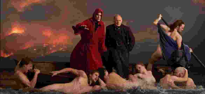 Pôster de ?A casa que Jack construiu? (2018), o cineasta Lars Von Trier recria o inferno de Dante e traz Matt Dillon e Bruno Ganz como versões de Dante e Virgílio. A cena foi inspirada em um quadro de Eugène Delacroix - Divulgação