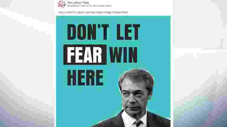 """""""Não deixe o medo vencer"""", diz anúncio do Partido Trabalhista - Reprodução"""