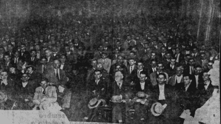 Conferência anti-integralista realizada em 14 de novembro de 1933, no salão da União das Classes Laboriosas - Wikimedia Commons/Reprodução - Wikimedia Commons/Reprodução