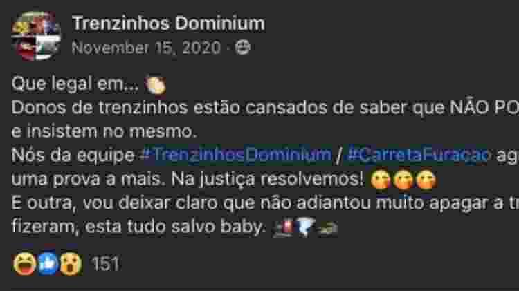 Postagem da Trenzinhos Dominium no Facebook - Reprodução/ Facebook - Reprodução/ Facebook