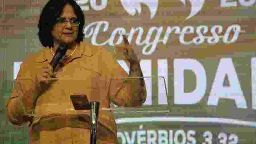 Ministra Damares Alves palestra sobre intimidade na Igreja Batista Getsêmani, em Belo Horizonte - Daniel Stone/Futura Press/Folhapress