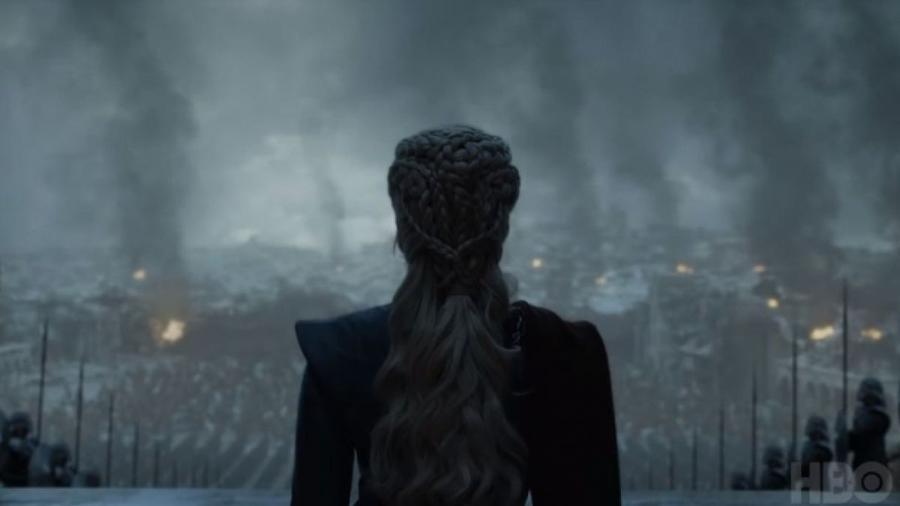 A personagem Daenerys faz discurso para seu povo no último episódio da série Game of Thrones - Divulgação