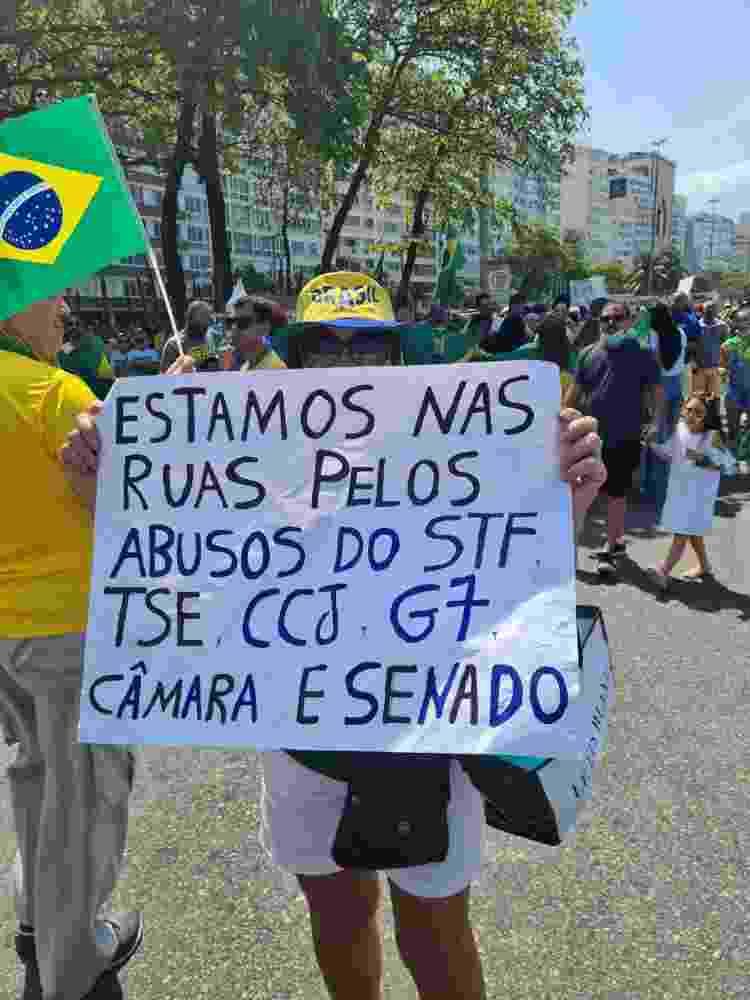 Cartaz de manifestante no Sete de Setembro no Rio - Elisa Soupin/UOL - Elisa Soupin/UOL