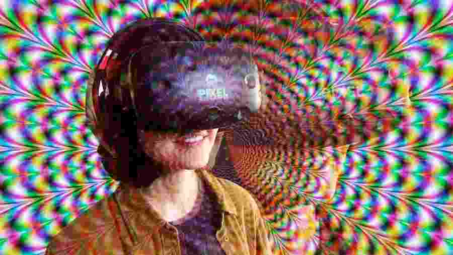 Repórter usa óculos de realidade virtual para testar efeitos psicodélicos - Arquivo pessoal e Arte/TAB