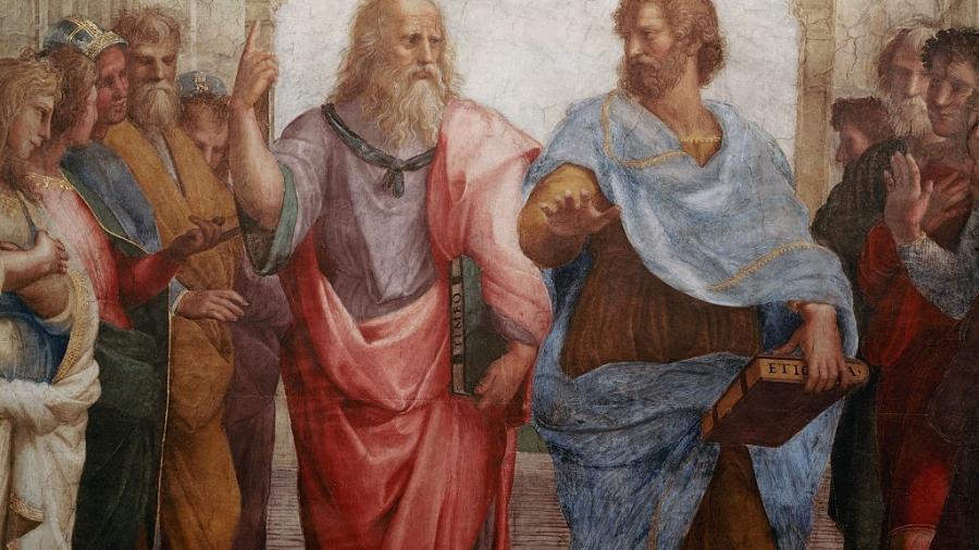 """Detalhe de Platão e Aristóteles em """"A escola de Atenas"""", de Rafael - Corbis/Getty Images"""