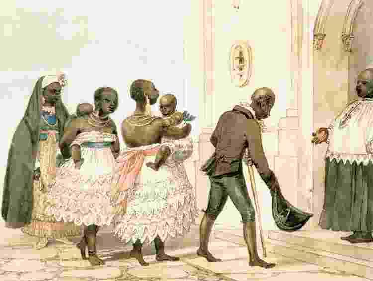 """""""Batizado de Mulher e Crianças Negras"""", aquarela de Jean-Baptiste Debret (séc. 19) - Reprodução - Reprodução"""