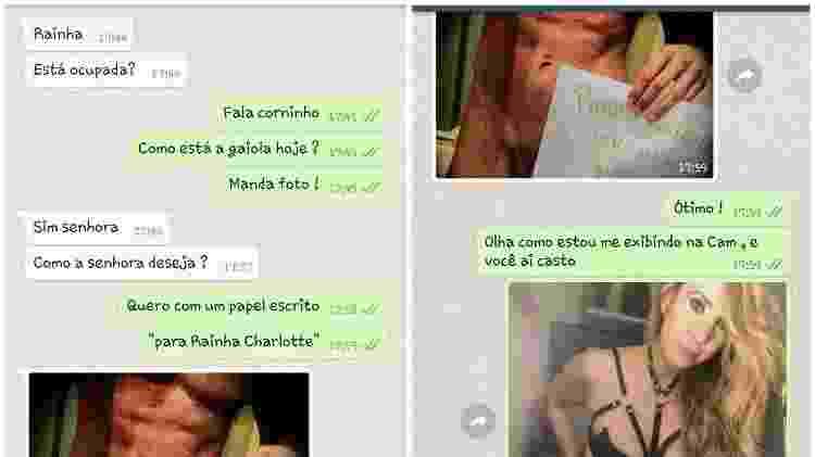 Conversa de Whatsapp entre Mistress Charlotte e um dos seus escravos sexuais  - Arquivo Pessoal - Arquivo Pessoal