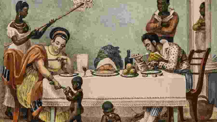 """""""Família brasileira no Rio de Janeiro"""", de Jean-Baptiste Debret (1839) - Wikimedia Commons"""