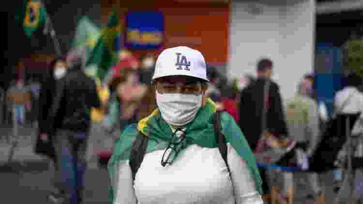 Cristina Szabo, presidente estadual do PSL Mulher, no protesto pedindo o impeachment de Jair Bolsonaro, em São Paulo - André Porto/UOL - André Porto/UOL