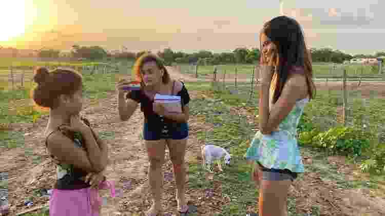 Faela Maya nos bastidores das gravações - Arquivo pessoal - Arquivo pessoal