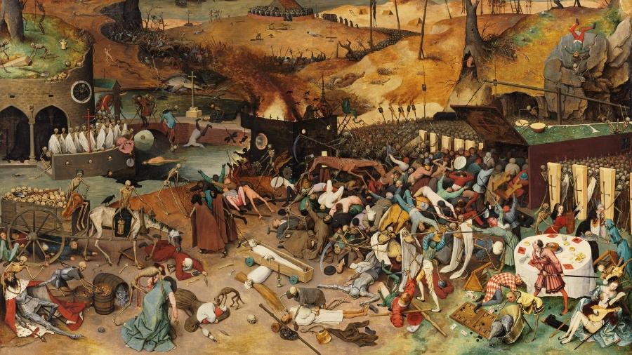 """O quadro """"Triunfo da Morte"""" (1563), do holandês Pieter Brueger The Elder é apenas um dos legados de grandes epidemias para a humanidade - Reprodução/ Museu do Prado (Madri)"""