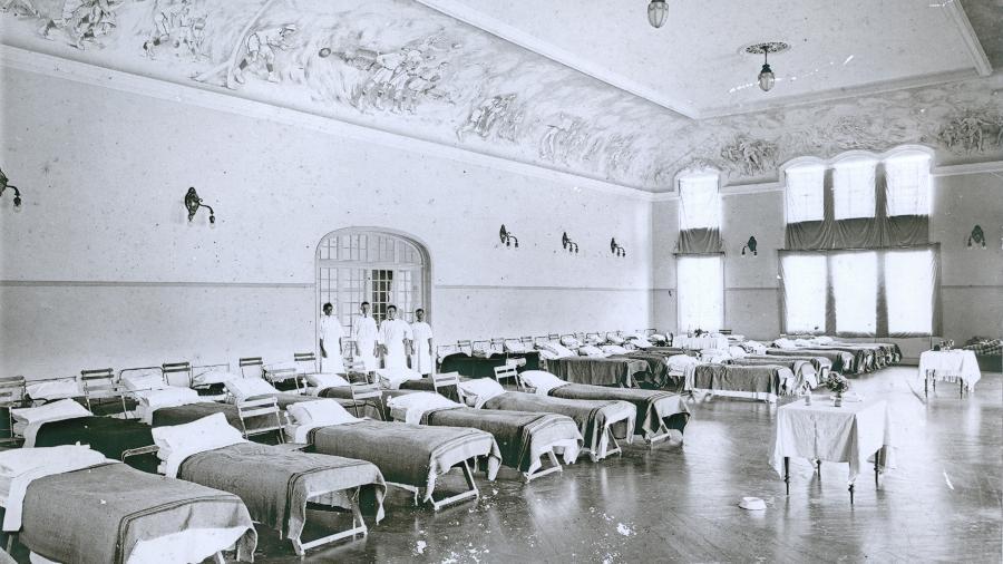 Hospital do Club Athletico Paulistano montado em 1918  - Acervo do Club Atlético Paulistano, cedida pela Editora Narrativa Um / Divulgação