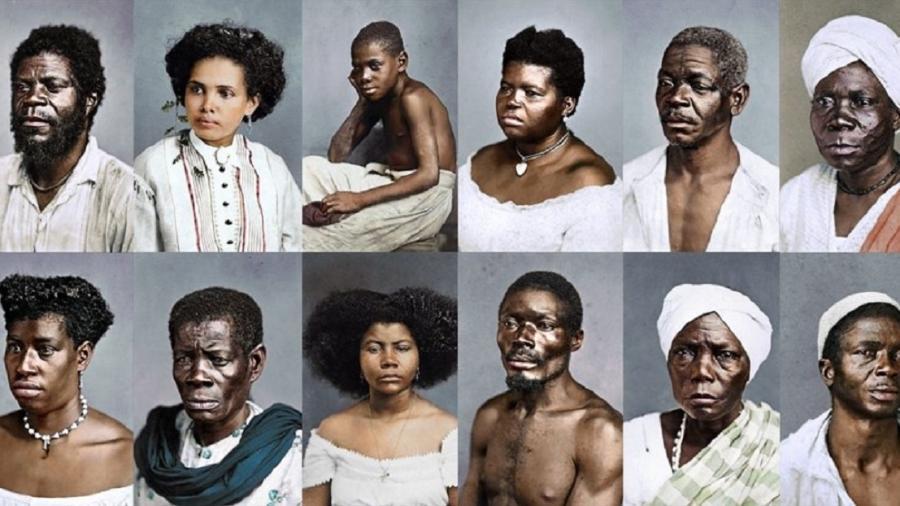 Fotografias de pessoas escravizadas no Brasil coloridas digitalmente por Marina Amaral - Divulgação