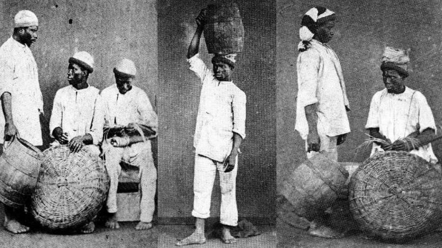 """Padrões similares em roupas de escravos do século XIX - Livro """"Escravos Brasileiros do século XIX na fotografia de Christiano Jr.""""/Editora Ex-Libris/Reprodução"""
