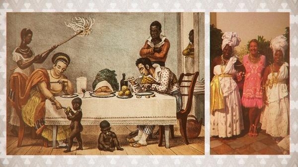 0b646cd4dcbb1 Montagem põe lado a lado foto da festa de Donata Meirelles e um quadro de  Jean-Baptiste Debret Imagem  Arte TAB