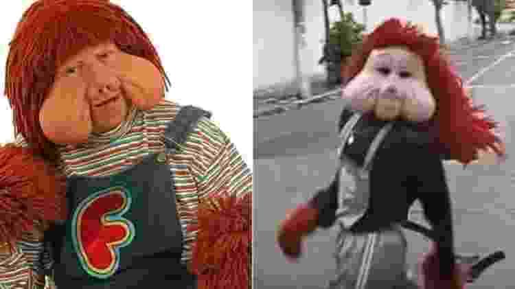Fofão, personagem de Orival Pessini (à esquerda), e o genérico da Carreta Furacão - Montagem/UOL - Montagem/UOL