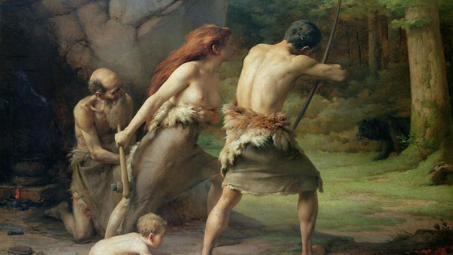 """""""Homem pré-histórico caçando ursos"""", óleo sobre tela  - Art Images/Getty Images"""