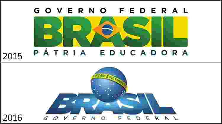As duas últimas marcas do governo federal: retangular com foco verde e amarelo na gestão de Dilma Rousseff e a estética futurista de Michel Temer - Divulgação