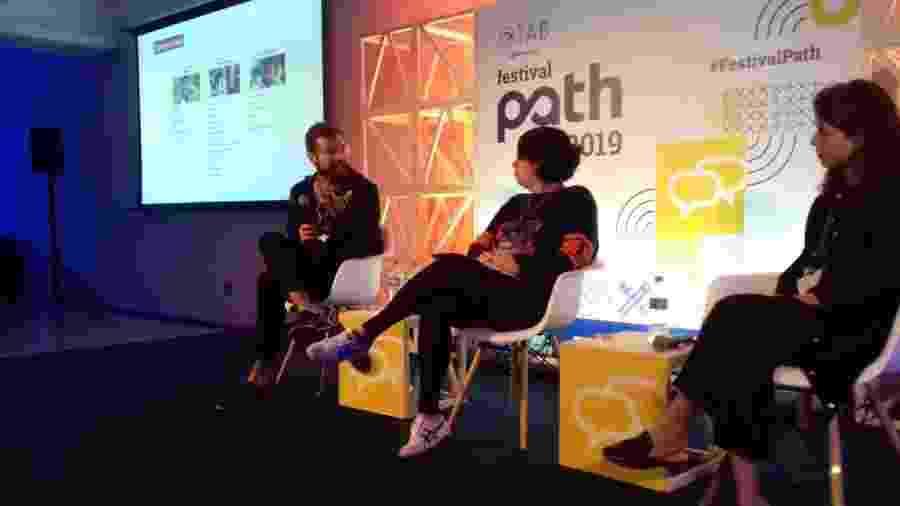 Pedro Hartung, Patrícia Favalle e Luísa Adib debatem sobre o uso do YouTube por crianças no Festval Path - Giacomo Vicenzo/Colaboração para o TAB