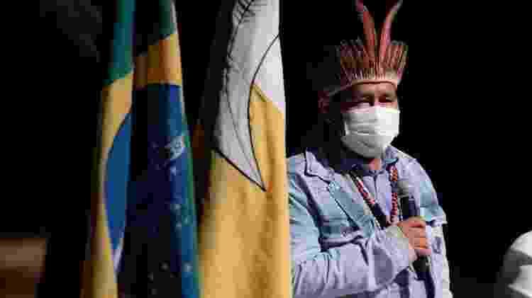 O capitão Gaudêncio Benites, indígena da etnia Guarani Kaiowá, na Reserva de Dourados (MS) - José Medeiros/UOL - José Medeiros/UOL