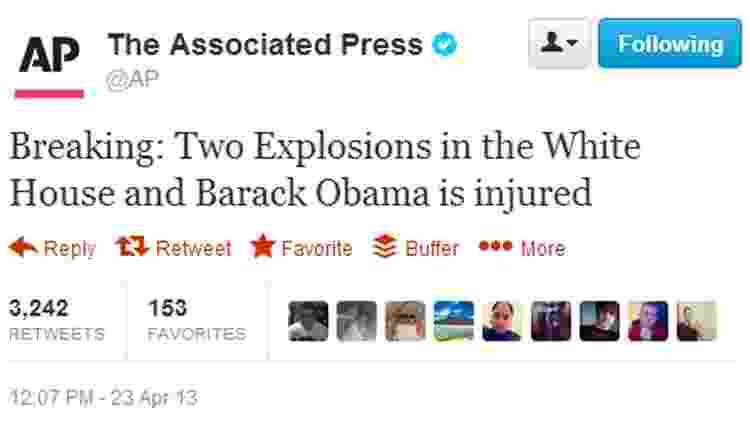 Tweet hackeado da agência de notícias Associated Press que afetou a Bolsa de Valores dos EUA - Reprodução - Reprodução