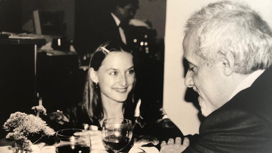 Blazka Müller com Paulo Coelho em Liubliania (Eslovênia), nos anos 1990 - Acervo Pessoal