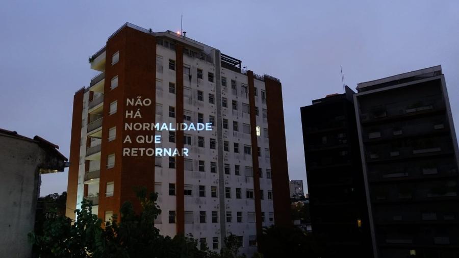 Projeção da artista plástica Ana Teixeira em um prédio da zona oeste de São Paulo - Arquivo pessoal