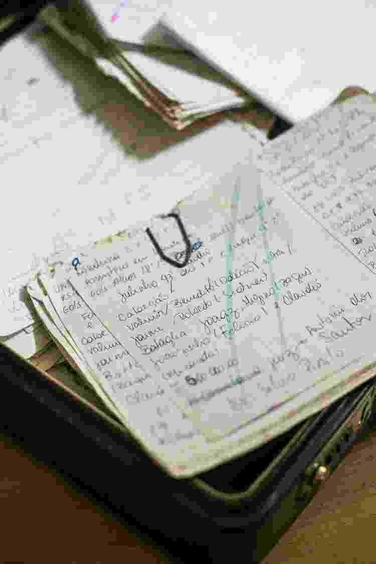 Anotações feitas à mão pelo irmão de Celso para o seu livro 'Almanaque do Timão' - Keiny Andrade/UOL - Keiny Andrade/UOL