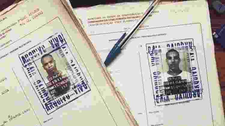 Fichas de Afro X e Dexter da época em que foram detidos por roubo  - Reprodução