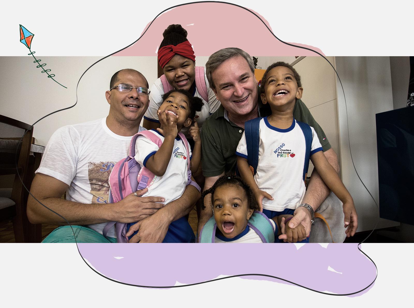 O casal Weykman Padinho (esq.) e Rogério Koscheck com os filhos Juliana, Luiz Fernando, Maria Vitória e Anna Cláudia