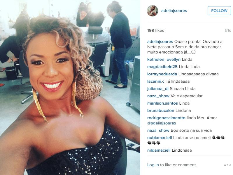 5.abr.2016 - Adélia publicou uma foto em seu perfil no instagram avisando que já está quase pronta para a final do
