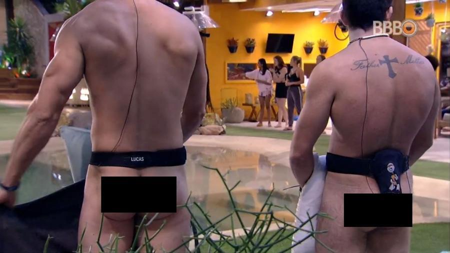 Lucas e Kaysar tiram a roupa em brincadeira - Reprodução/GlobosatPlay