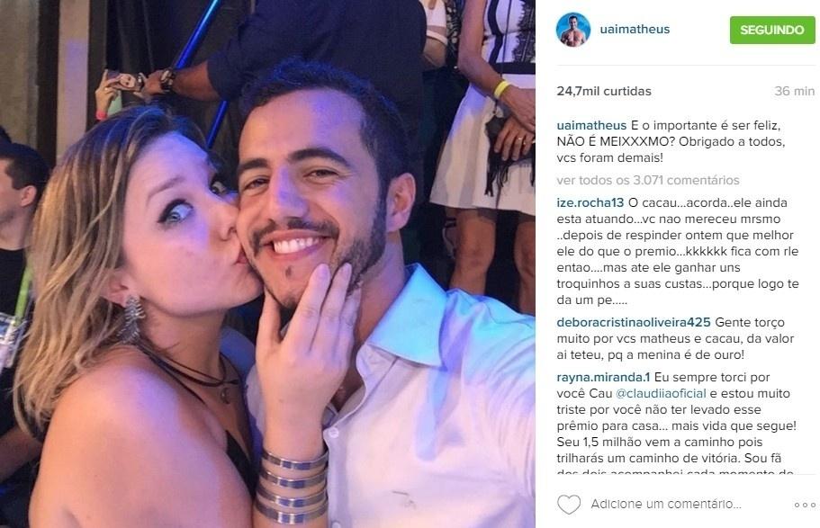 5.abr.2016 - Matheus faz post em homenagem à Maria Claudia.