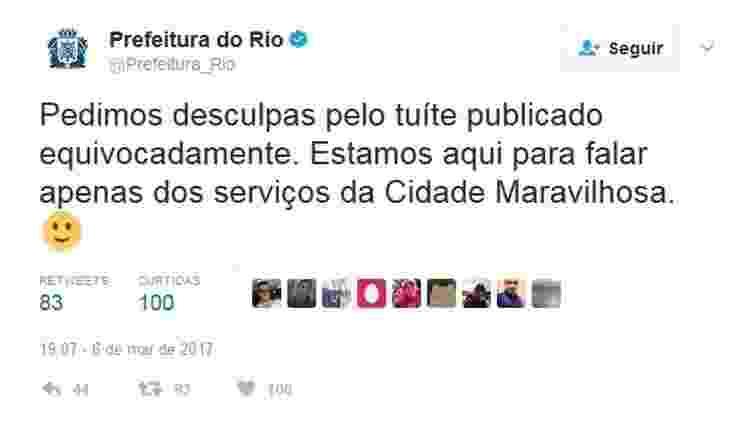 Prefeitura do Rio pede desculpas por tuíte  - Reprodução/Twitter - Reprodução/Twitter