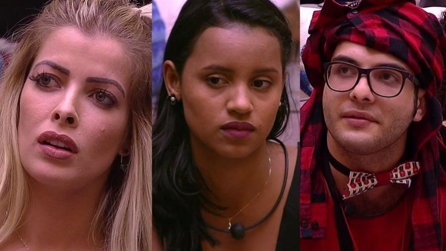 """Jaqueline, Gleici e Mahmoud formam o segundo paredão do """"BBB18"""" - Montagem/TvGlobo"""