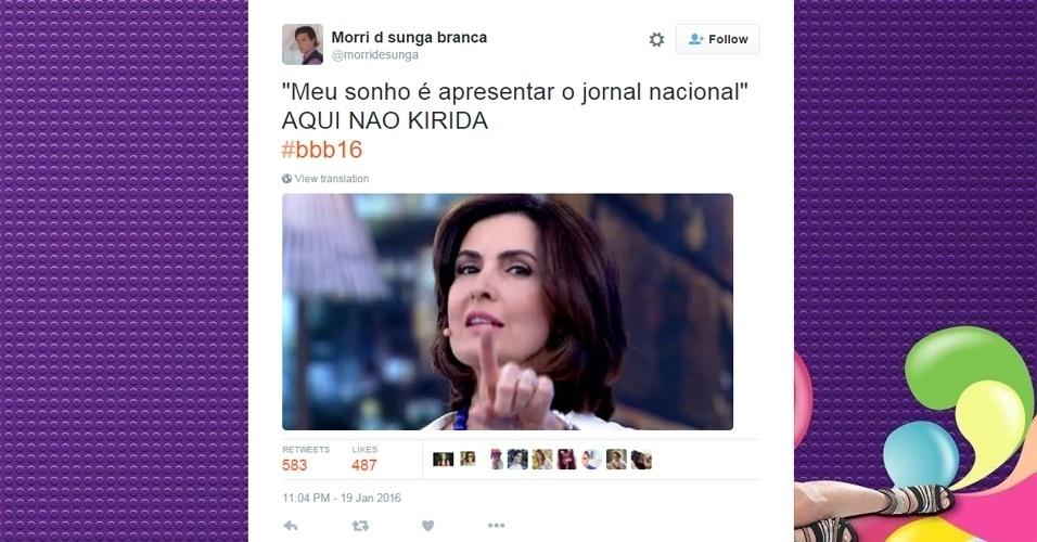"""19.jan.2016 - Munik, do """"BBB16"""", disse que sonha em apresentar o """"Jornal Nacional"""". Foi o que bastou para que surgissem memes com Bonner ou Fátima Bernardes,"""