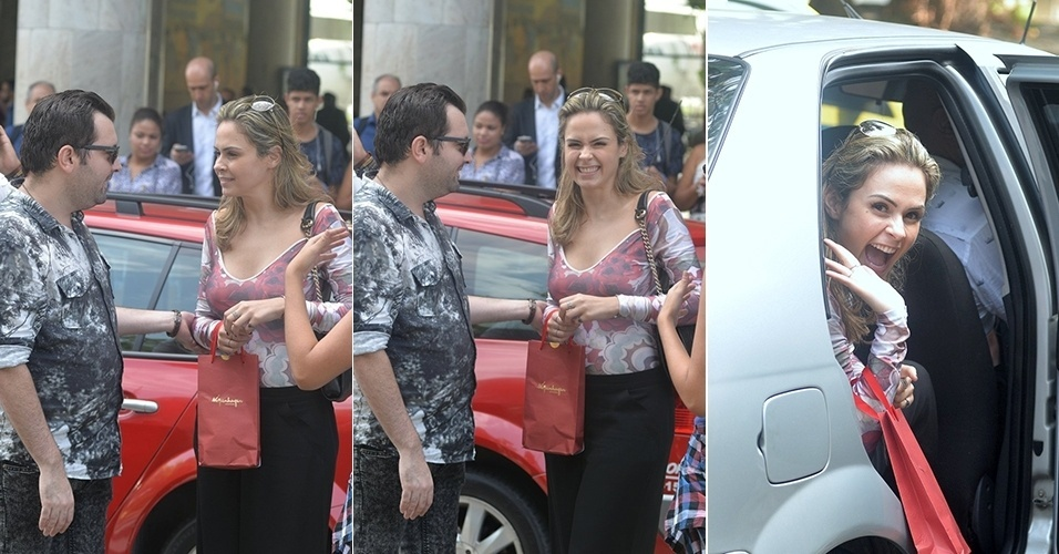 29.mar.2015 - Ana Paula desembarca no aeroporto Santos Dumont, no Rio de Janeiro. Simpática, a jornalista sorriu para os fotógrafos