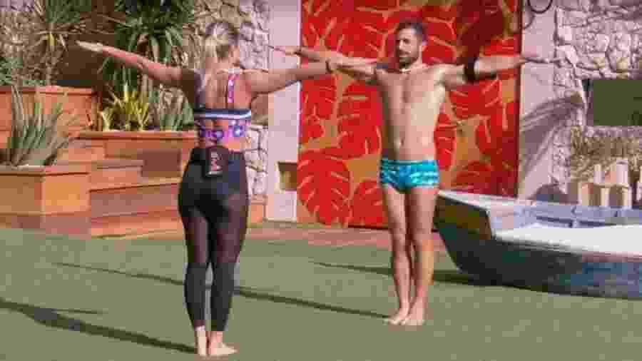 Jéssica ensina saltos para Kaysar  - Reprodução/Tv Globo