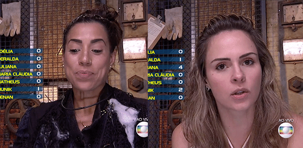 """O quarto paredão do """"BBB16"""" foi formado neste domingo (21) e será disputado por Juliana e Ana Paula - Reprodução/TV Globo"""